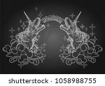 two graphic dinocorns. roaring... | Shutterstock .eps vector #1058988755