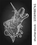 graphic dinocorn. roaring... | Shutterstock .eps vector #1058988761