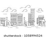 hand drawn city landscape... | Shutterstock .eps vector #1058994524