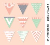 lovely pennants design. cute... | Shutterstock .eps vector #1058996255