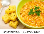 beef tripe in bowl with cubed... | Shutterstock . vector #1059001334