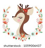 beautiful deer with flower frame | Shutterstock .eps vector #1059006437
