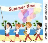 kids procession with baloons... | Shutterstock .eps vector #1059009059