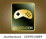 gold emblem with video game... | Shutterstock .eps vector #1059013889