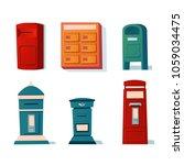 vector set of mailboxes  letter ... | Shutterstock .eps vector #1059034475
