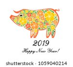 2019 happy new year greeting... | Shutterstock . vector #1059040214