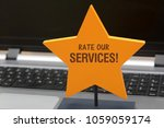 rate our services on yellow... | Shutterstock . vector #1059059174