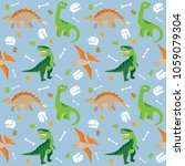 various dinosaurs on blue... | Shutterstock .eps vector #1059079304