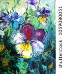 pansy flower. abstract acrylic... | Shutterstock . vector #1059080051