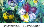 Pansy Flower. Abstract Acrylic...