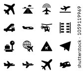 solid vector icon set   plane... | Shutterstock .eps vector #1059119969