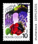 Small photo of MOSCOW, RUSSIA - MARCH 31, 2018: A stamp printed in USSR (Russia) shows Acid Rain Destroying Rose, Nature Conservation serie, circa 1990