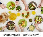 eating together concept | Shutterstock . vector #1059125894