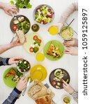 family dinner concept | Shutterstock . vector #1059125897