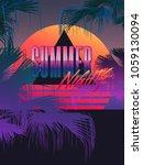 tropic summer night graphic... | Shutterstock .eps vector #1059130094