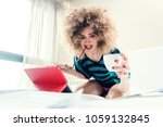 woman student on her bed... | Shutterstock . vector #1059132845