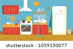 illustration of dirty kitchen. | Shutterstock .eps vector #1059150077