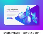 isometric flat online payment... | Shutterstock .eps vector #1059157184