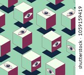 abstract cubes with eyes.... | Shutterstock .eps vector #1059159419