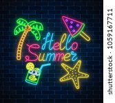 neon summer poster with... | Shutterstock .eps vector #1059167711