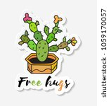 sticker with cactus in pot with ... | Shutterstock . vector #1059170057