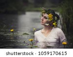 art woman with wreath on her... | Shutterstock . vector #1059170615