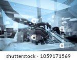 blockchain technology concept... | Shutterstock . vector #1059171569
