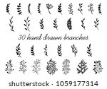 hand drawn branches with leaves ... | Shutterstock .eps vector #1059177314