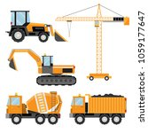 construction machines isolated... | Shutterstock .eps vector #1059177647