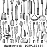 seamless pattern with sketch... | Shutterstock .eps vector #1059188654