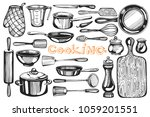 vector background with cooking... | Shutterstock .eps vector #1059201551