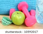 sports equipment   dumbbells... | Shutterstock . vector #10592017
