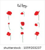 Red Poppy Flowers Clipart With...