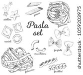 vector hand drawn pasta set.... | Shutterstock .eps vector #1059203975