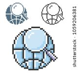 pixel icon of global search in... | Shutterstock . vector #1059206381