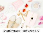 flat lay of female fashion...   Shutterstock . vector #1059206477