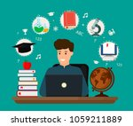 young student sitting at desk... | Shutterstock .eps vector #1059211889