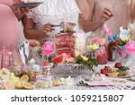 group of women at a baby shower ... | Shutterstock . vector #1059215807