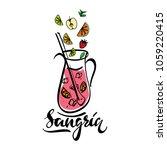 hand sketched sangria recipe...   Shutterstock .eps vector #1059220415