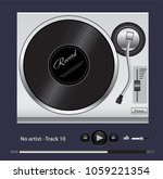 the turntable for playing vinyl ... | Shutterstock .eps vector #1059221354