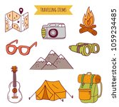 travel funny doodle elements ... | Shutterstock .eps vector #1059234485