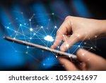 female hands touching tablet... | Shutterstock . vector #1059241697