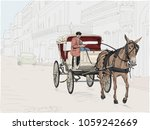 a horse drawn carriage in the... | Shutterstock .eps vector #1059242669
