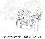 a horse drawn carriage in the... | Shutterstock .eps vector #1059242771