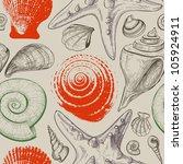 sea shells seamless pattern | Shutterstock .eps vector #105924911