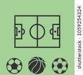 soccer icon set.stadium line...   Shutterstock .eps vector #1059254324