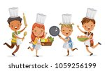 children cooking.boys and girls ... | Shutterstock .eps vector #1059256199