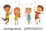 Children dancing. boys and girls dancing together happily.Jumping, shake the hips, move the body, cute cartoon Enjoy the rhythm. Have fun in childhood.Vector illustrations Isolated on white background | Shutterstock vector #1059256529