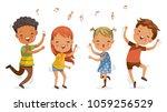 children dancing. boys and... | Shutterstock .eps vector #1059256529
