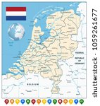 netherlands map and colorful... | Shutterstock .eps vector #1059261677